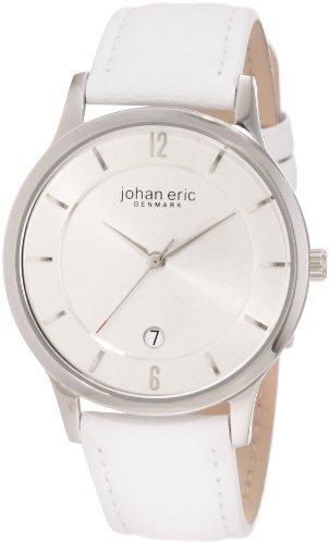 Johan Eric JE2001-04-001 - Reloj analógico de cuarzo para hombre con correa de piel, color blanco
