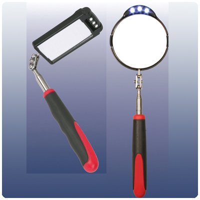 Telescopic Mirror With Led Lights - Round