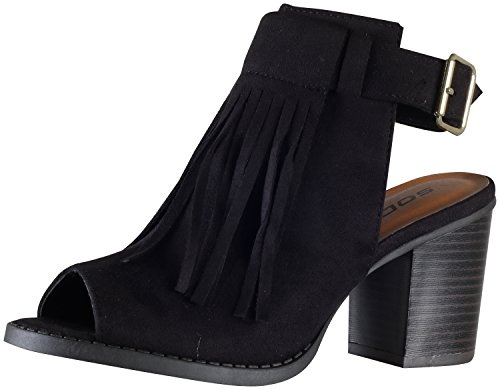 Soda Women's Oxford Fringe Tassel Peep Toe Buckle Slingback Bootie,Black,7.5 (Soda Shoes Women Wedges compare prices)