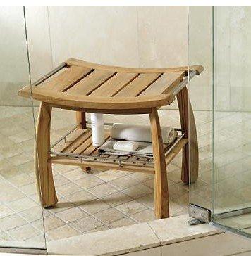 Teak Wood (Grade-A) Teak Shower / Bath Room / Pool Bench with Shelf