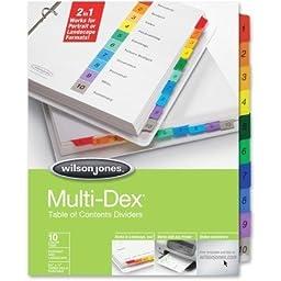 Multidex#153; Complete Index System, Multicolor Tabs Titled 1-10, Set (WLJ91003)