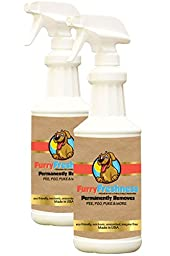 Furry Freshness Premium Pet Stain & Smell Remover - Permanently Evaporates Stains Away (2 Pack - 32oz Bottles)