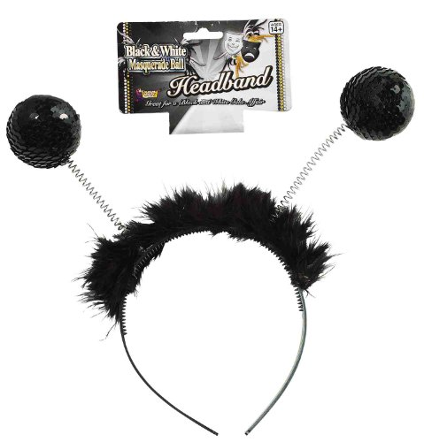 Forum Novelties Sequin Furry Black Antenna Bopper Masquerade Ball Costume Headband