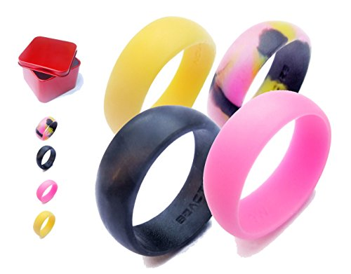 Women's Silicone Wedding Ring Band. B2ACTION 4 Colors Pack (Black,Pink,Yellow,Camo) With Gift Box