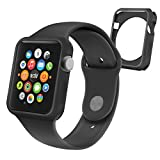 Orzly® - FlexiCase FacePlate for APPLE WATCH (38mm) - Protective Flexible Silicon Gel Case in BLACK - Retail Packed & Designed by Orzly® specifically for use with the APPLE WATCH (For 38mm Version of All 2015 Models - BASIC / SPORT / EDITION)