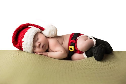 Melondipity Santa's Little Helper Christmas Baby Hat, Diaper Cover & Booties Set (Newborn)