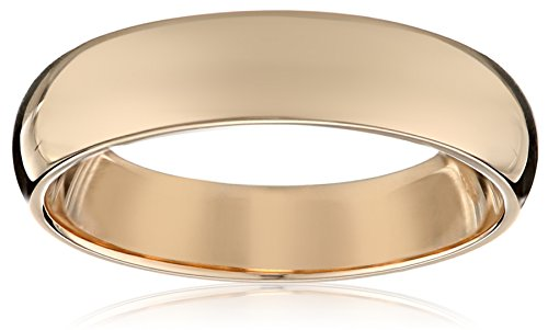 10k Yellow Gold 4mm Traditional Plain Wedding Band, Size 7.5