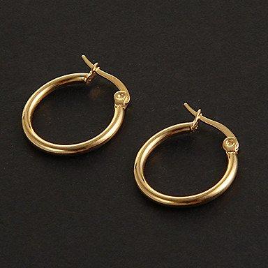 Mode einfachen 1.5cm runde Form Goldene Creolen Edelstahl (1 Paar)