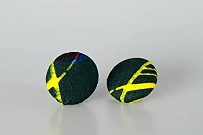 "Fabric button earrings (7/8""), African fabric button earrings, Ankara fabric button earrings, Fabric Earrings, Button earrings (Gabe)"