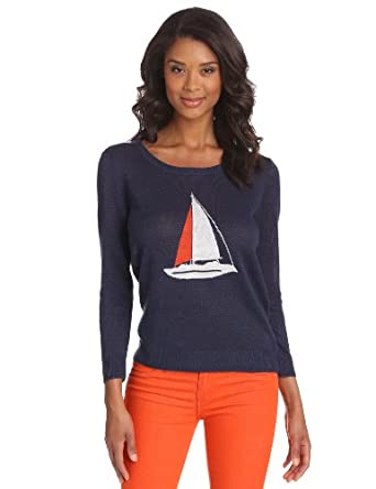 Joie Women's Evaline Sailboat Intarsia Long Sleeve Sweater, Blue Violet, Small