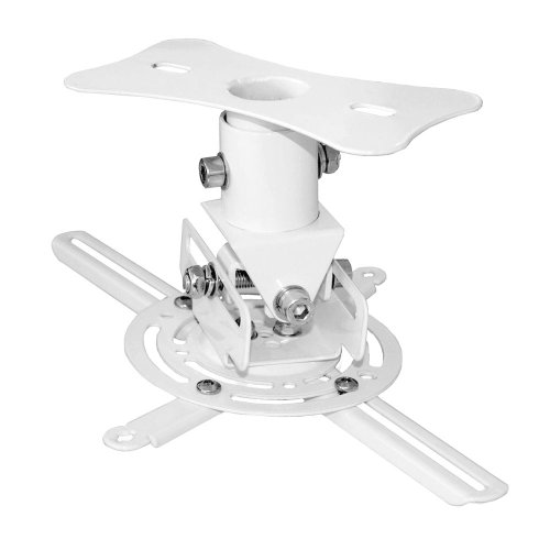 Pyle Prjcm6 Universal Projector Ceiling Mount Bracket With Rotation/Tilt Adjustments And Quick Release Mechanism (White) front-851962