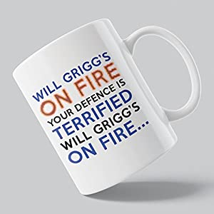 Will Grigg's ON FIRE Your Defence Is Terrified Song Chant Wigan Athletic Latics Inspired 11OZ Tea Coffee Cup Mug