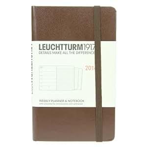 Leuchtturm1917 343611 Agenda Semainier + Carnet de poche 2014 A6 en Anglais avec Cahier supplémentaire Tabac