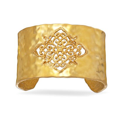 Ornate Gold Tone Fashion Cuff Bracelet