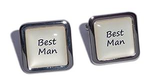 Best Man Ivory Square Wedding Cufflinks.