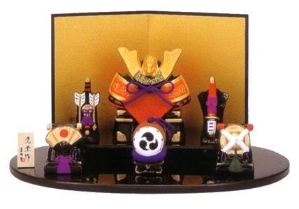 錦彩 出世兜飾り(大) 5506(陶器/五月人形)