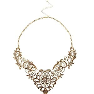 Vintage Style Simulated Lace Feeling Hollowing Flower Alloy Choker Necklace (Model: X010266)