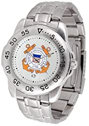 US Coast Guard Suntime Mens Sports Watch w/ Steel Band - NCAA College Athletics