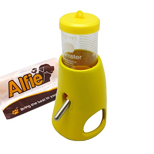 Alfie Pet Small Animal Hideout - 2-in-1 Water Bottle with Hut (Living Habitat for Dwarf Hamster and Mouse) - Color: Yellow