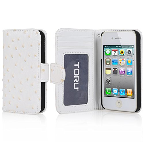 Iphone 4S Case, Toru® [White] Iphone 4S Case Wallet [Ostrich] [Wrist Strap] With Credit Card Slots / Id Window / Inner Pocket - Pu Leather Flip Cover Folio Wallet Case - Verizon, At&T, Sprint, T-Mobile, International, And Unlocked - Case For Iphone 4 / Ip