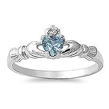 buy Sterling Silver Irish Claddagh Friendship Ring Simulated Aquamarine Heart Size 6 (Rng10234-6)
