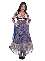 Diva Fusion Womens Net Anarkali Semi-Stitched Dress Material (Dfa169 _Multi-Coloured)