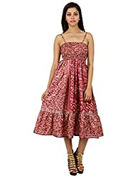 Ethnic Polyester Floral Dress Red Printed Medium For Women By Rajrang