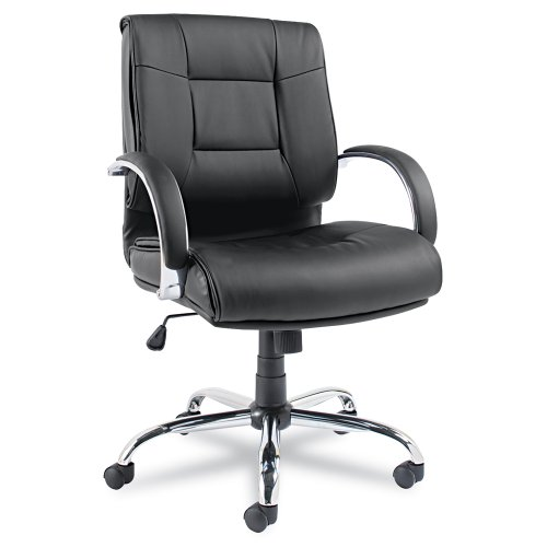 Alera Ravino Series Mid-Back Swivel/Tilt Leather Chair, Black