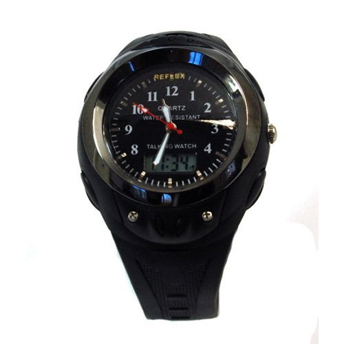 Reflex Mens Analogue Digital Talking Black Plastic Strap Watch Talk 203