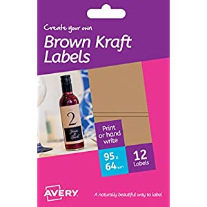 Avery HBK02 Create Your Own Printable A6 Sheets of Brown Kraft Rectangle Labels, 89 x 41 mm - Brown, Pack of 12