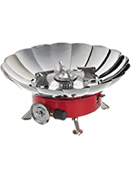 HOZER(TM) LH-II Compact Portable Windproof Camping Gas Stove - Red + Silver (2 x AG3)