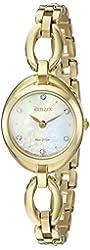Citizen Eco-Drive Women's 'Silhouette' Quartz Stainless Steel Casual Watch, Color: Gold-Toned (Model: EX1432-51D)