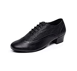 Zioso TQJ9019 Men\'s Round Toe Black Leather Tango Latin Ballroom Dance Shoes 8 M US