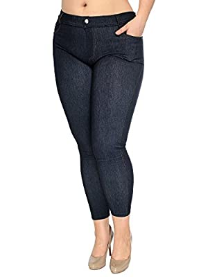 AshopZ Women Plus Size Stretchy Jean Legging Jeggings w/ Rhinestone Pockets
