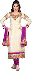 silvermoon fashion women's Georgette Embroderied Unstitched Dress Material -1037_Beige_Freesize