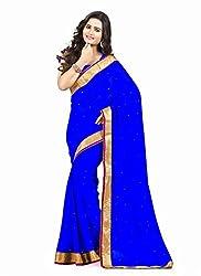 Clothsguru Women's Chiffon Saree with Blouse Piece (Blue)