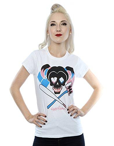 Suicide Squad Donna Harley Quinn Skull Emblem Maglietta Medium bianca