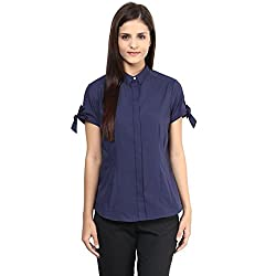 Annabelle by pantaloons Women's Casual Shirt (205000005551226_Navy_M)