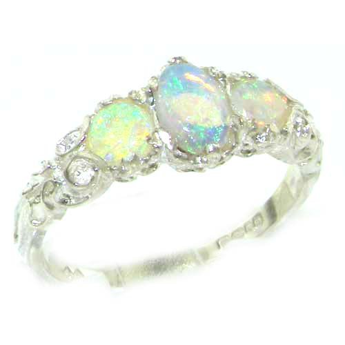 Ladies Solid Sterling Silver Natural Fiery Opal English Victorian Trilogy Ring - Size 12 - Finger Sizes 5 to 12 Available - Suitable as an Anniversary ring, Engagement ring, Eternity ring, or Promise ring