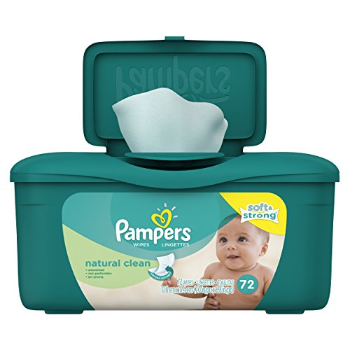 Pampers Baby Wipes Natural Clean Tub 72 count (Pack of 8) - 1
