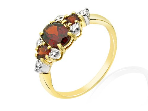 9ct Yellow Gold 1.08ct Garnet  &  Diamond Contemporary Ring