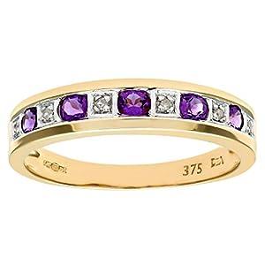 Bague Femme - Or jaune (9 carats) 2.45 Gr - Améthyste - Diamant 0.02 Cts - T 61.5