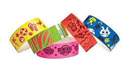 1 Inch Tyvek Wristbands - Music Design - Indoor Access ID - Outdoor Events Control - Day Glow Orange - 500 Units Per Pack