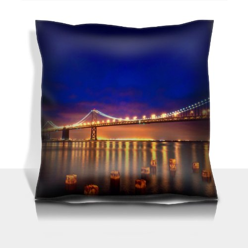 San Francisco Lights Bridge Night City Lights 100% Polyester Filled Comfort Square Pillows Customized Made To Order Support Ready Premium Deluxe 17 1/2 Inch X 17 1/2 Inch Liil Graphic Background Covers Designed Color Definition Quality Simplex Knit Fabric front-907548