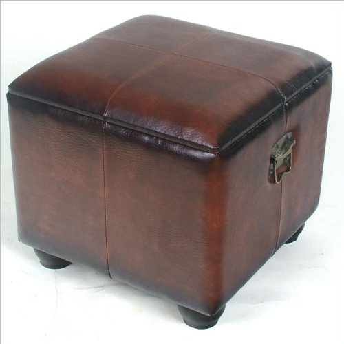 Square Ottoman w Brown Faux Leather and Lift Lid