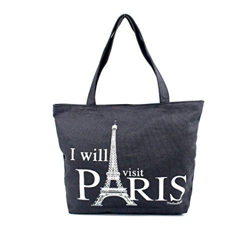 Borsa a tracolla Clode® Donne Canvas Borsetta Shopping Spalla Borsa Parigi Torre Eiffel Libro Tote Borsa (Colour : B)