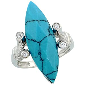 Sterling Silver Faceted Synthetic Turquoise Ring, w/ Brilliant Cut CZ Stones, 1