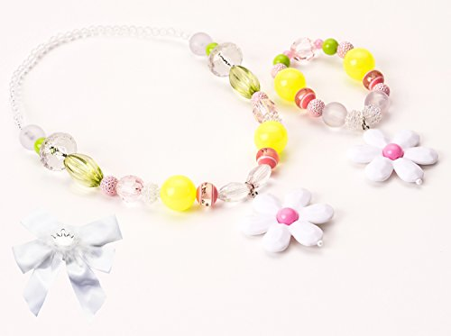 Little Adventure Pink & Lime Flower Kids Chunky Necklace & Bracelet with Bow