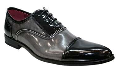 Chaussures Hommes - Vernis Bicolore Richelieu Noir et Gris V4 - Taille 40