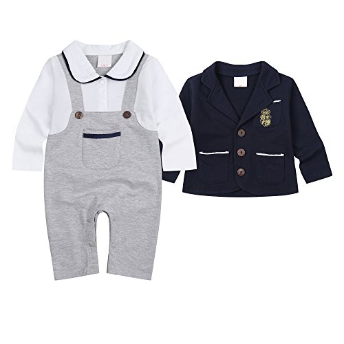 Baby Boy Outfits Clothing Set Toddler Jumpsuit Romper Onesie with Bowtie & Strap (Label 80 / 6-12 Months, Grey Romper+Blue Coat)